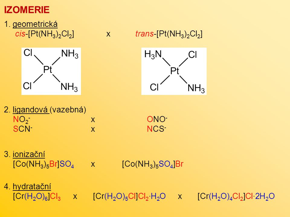 IZOMERIE 1. geometrická cis-[Pt(NH3)2Cl2] x trans-[Pt(NH3)2Cl2]